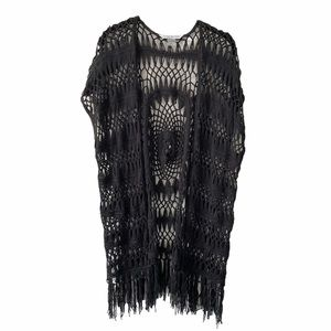 Nygard Black Crochet Boho Festival Vest XL